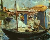 Edouard Manet : Claude Monet working on his boat in Argenteuil